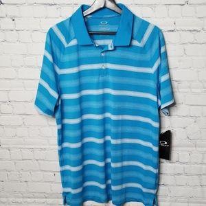 NWTMens Oakley size large blue striped golf shirt